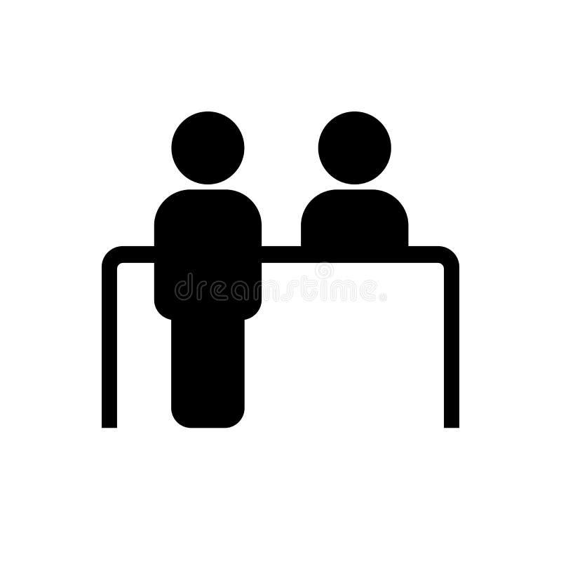 Ícone da mesa do serviço ao cliente Símbolo da recepção ilustração do vetor