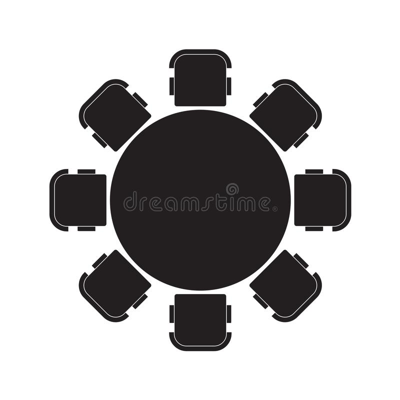 Ícone da mesa redonda e das cadeiras ilustração do vetor
