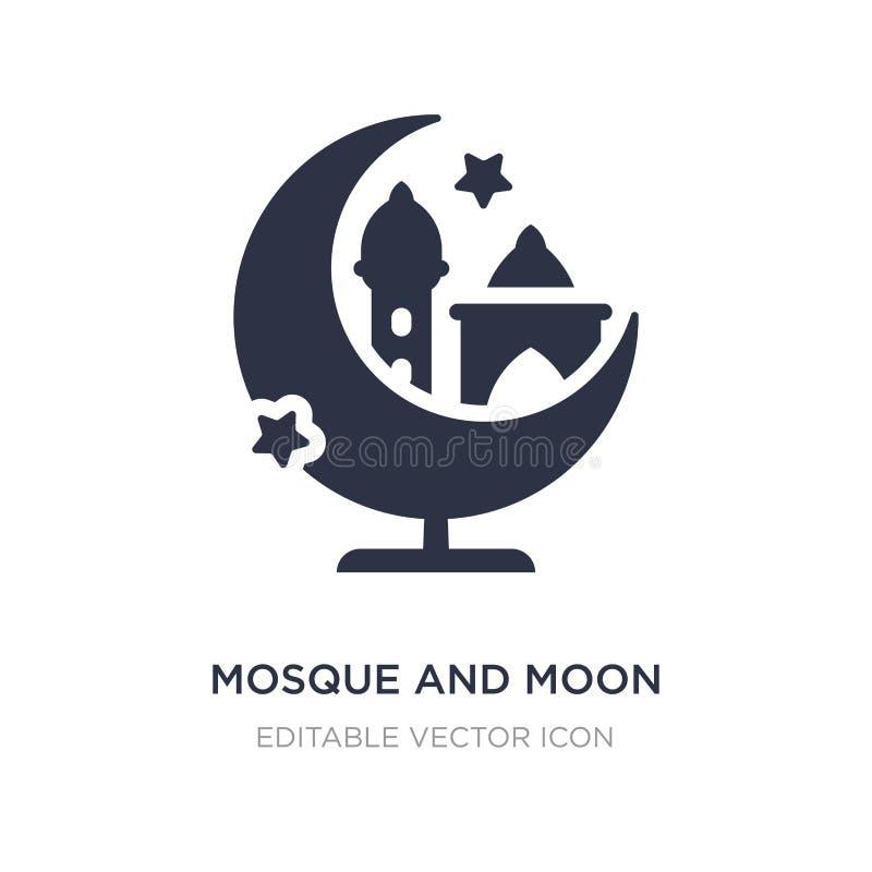ícone da mesquita e da lua no fundo branco Ilustração simples do elemento do outro conceito ilustração stock