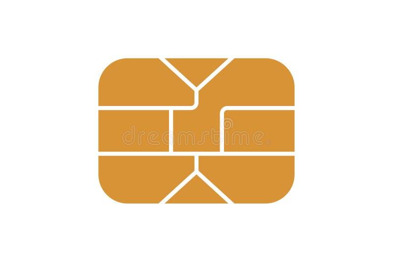 Ícone da microplaqueta de EMV para o cartão de carga do crédito ou do débito do plástico do banco Ilustra??o do vetor ilustração royalty free