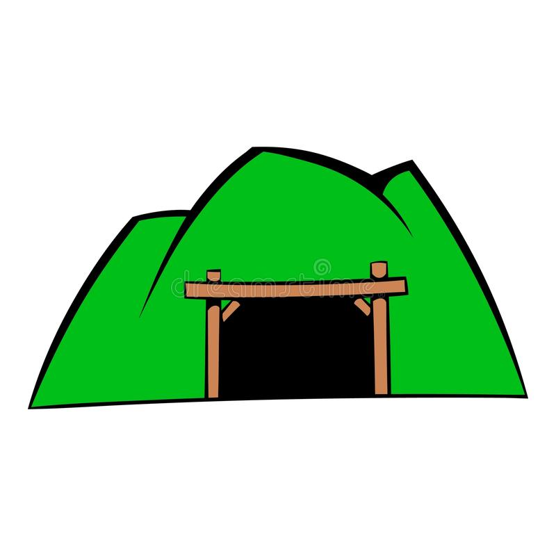 Ícone da mina da montanha, desenhos animados do ícone ilustração stock