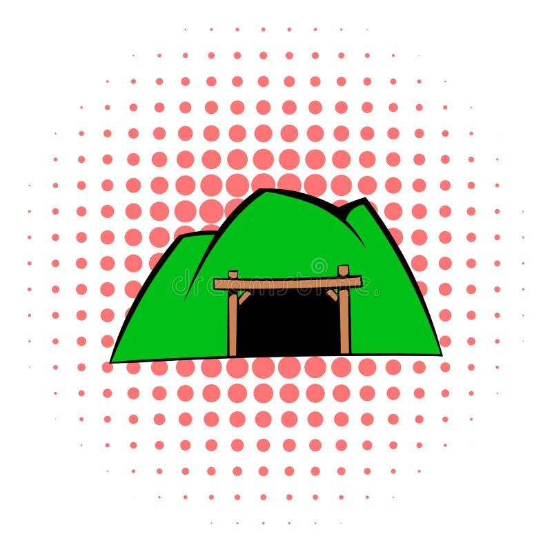 Ícone da mina da montanha, estilo da banda desenhada ilustração stock
