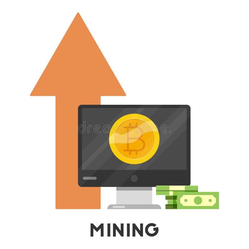 Ícone da mineração de Bitcoin, estilo dos desenhos animados ilustração royalty free