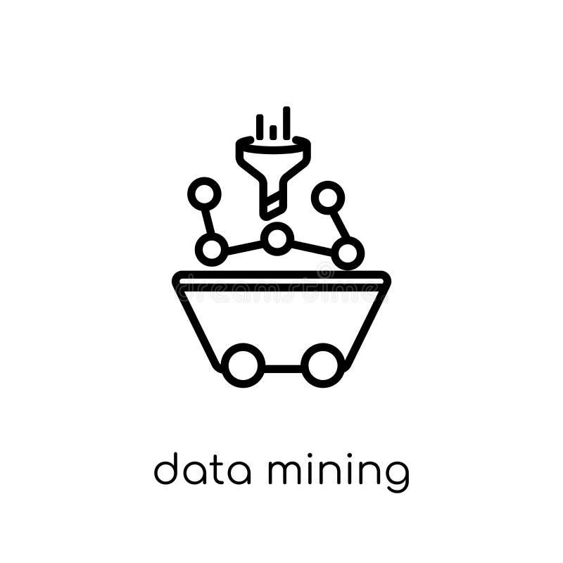 Ícone da mineração de dados Mineração de dados linear lisa moderna na moda i do vetor ilustração do vetor