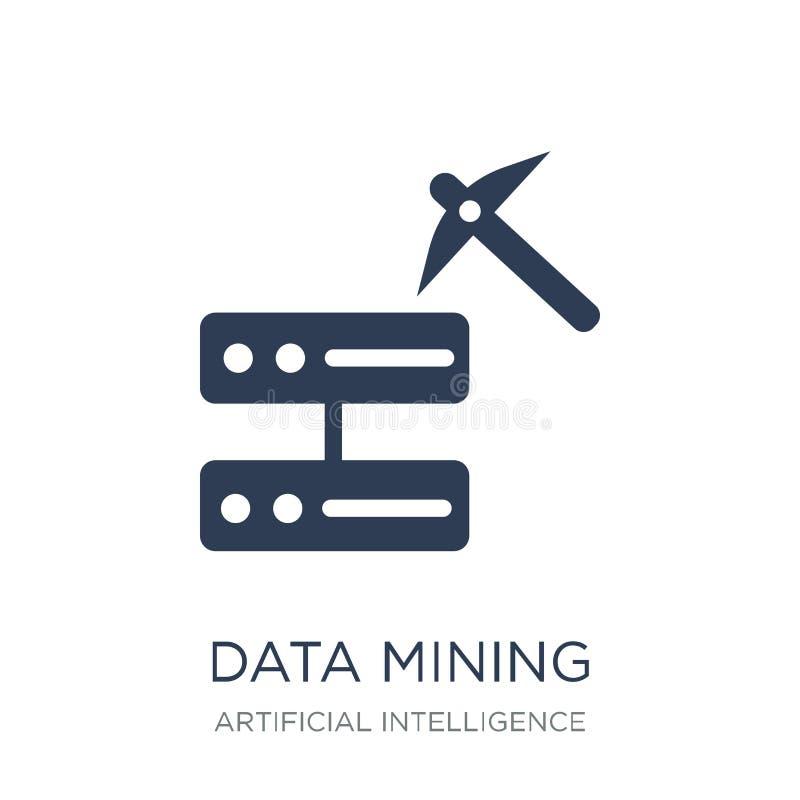 Ícone da mineração de dados Ícone liso na moda da mineração de dados do vetor em b branco ilustração royalty free