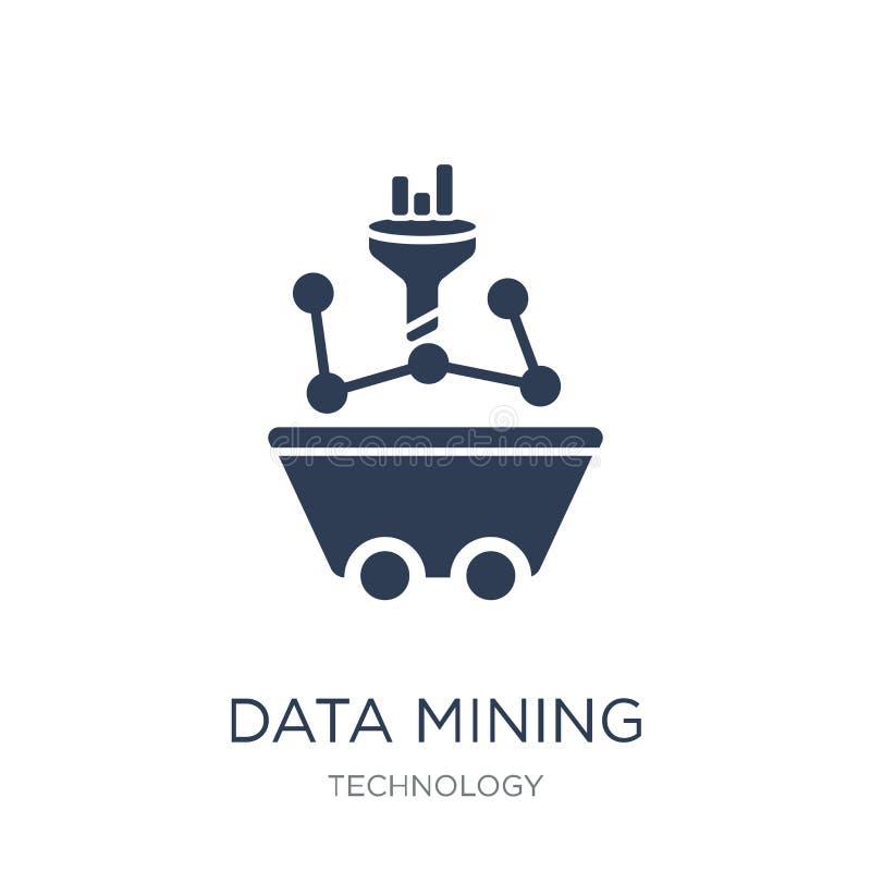 Ícone da mineração de dados Ícone liso na moda da mineração de dados do vetor em b branco ilustração stock