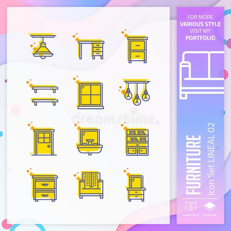 Ícone da mobília ajustado com estilo em linha direta para a loja de móveis O pacote do ?cone do neg?cio pode usar-se para o Web s ilustração royalty free