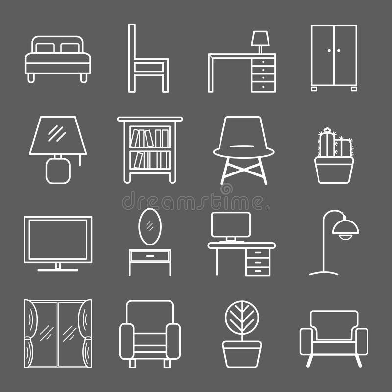 Ícone da mobília no escuro - fundo cinzento ilustração stock