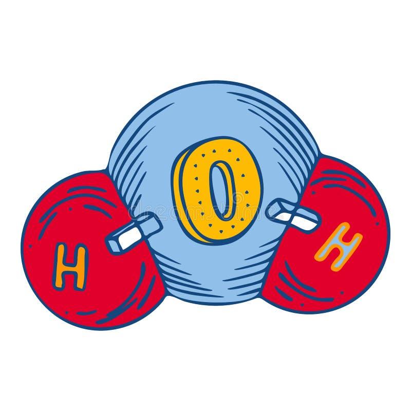 Ícone da molécula de água, estilo tirado mão ilustração stock
