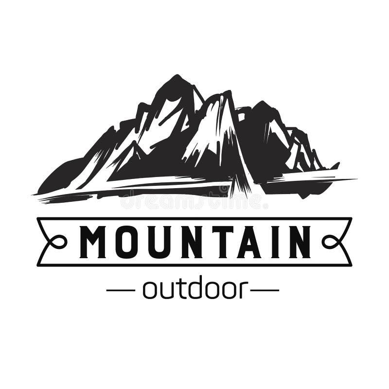 Ícone da montanha Logotipo monocromático da montanha fotografia de stock