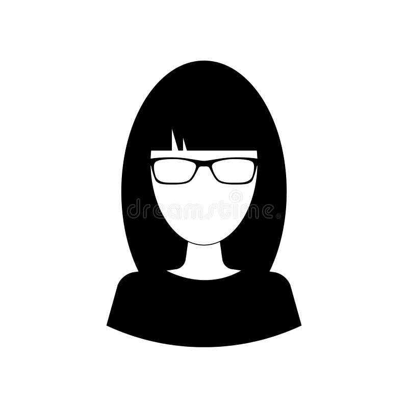 Ícone da mulher de negócio, símbolo do avatar Pictograma fêmea, sinal liso do vetor isolado no fundo branco ilustração stock