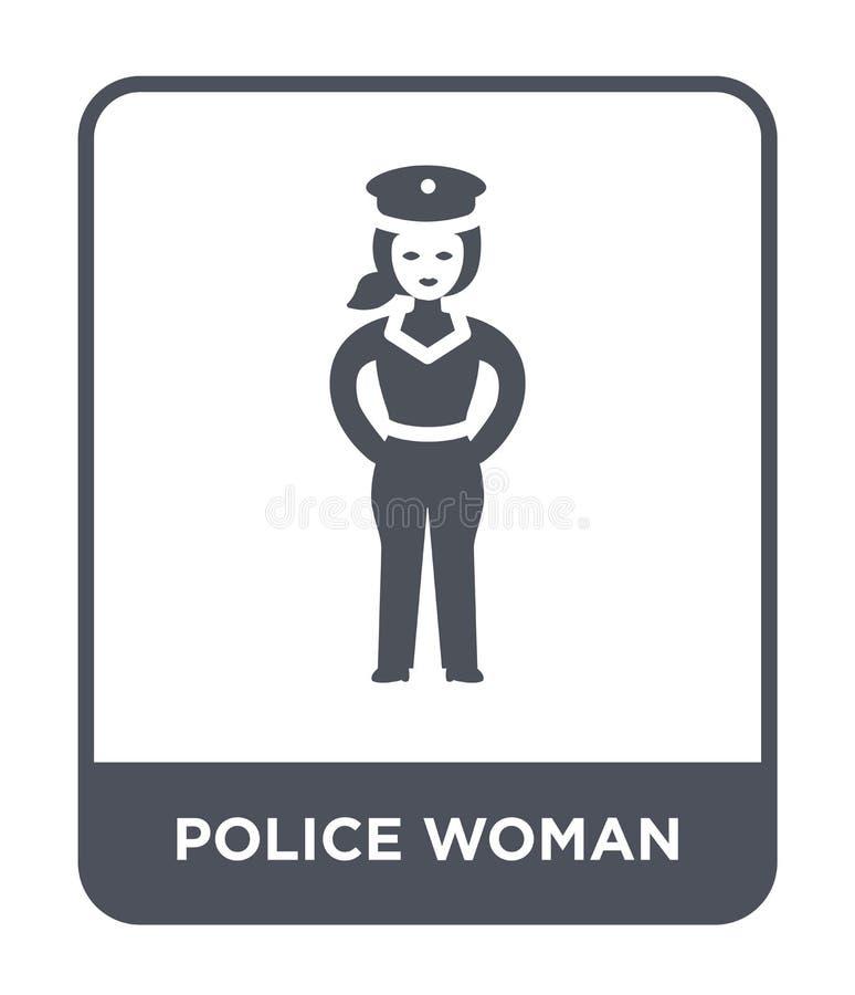 ícone da mulher da polícia no estilo na moda do projeto ícone da mulher da polícia isolado no fundo branco ícone do vetor da mulh ilustração royalty free