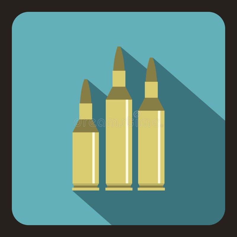Ícone da munição da bala, estilo liso ilustração royalty free
