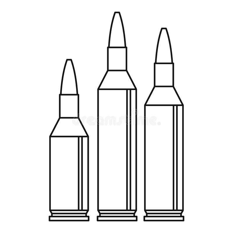 Ícone da munição da bala, estilo do esboço ilustração royalty free