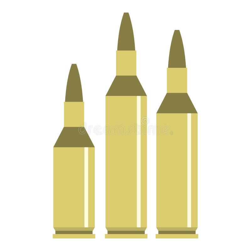Ícone da munição da bala, estilo liso ilustração do vetor
