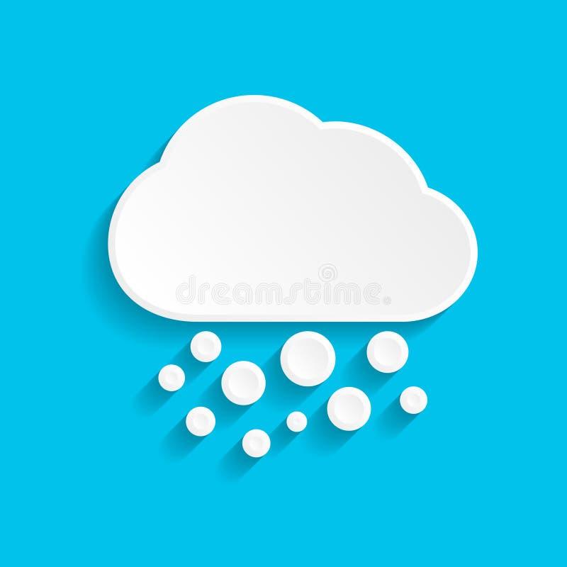 ?cone da neve e da nuvem no estilo de papel no fundo azul ilustração do vetor