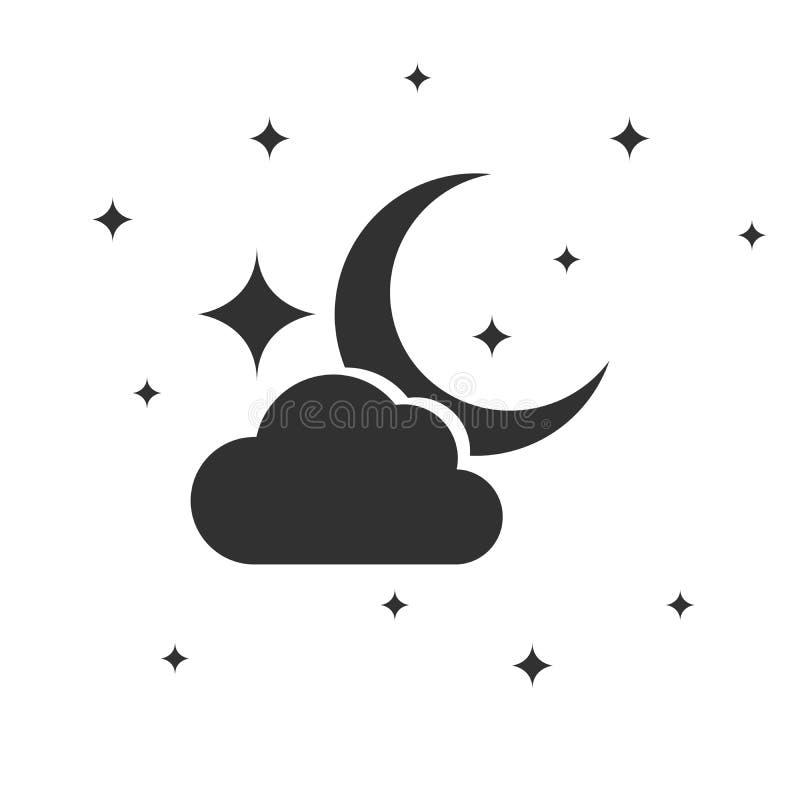 Ícone da noite, nuvem da lua e estrelas, ilustração do vetor isolada no fundo branco ilustração stock