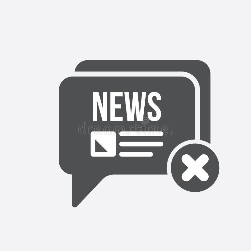 Ícone da notícia com sinal do cancelamento O ícone da notícia e o fim, supressão, removem o símbolo ilustração stock