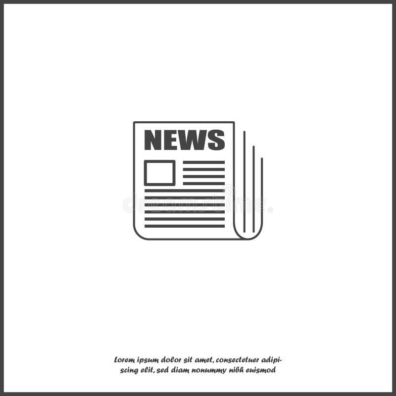 Ícone da notícia do vetor Notícia do jornal no fundo isolado branco Camadas agrupadas para a ilustração fácil da edição ilustração stock