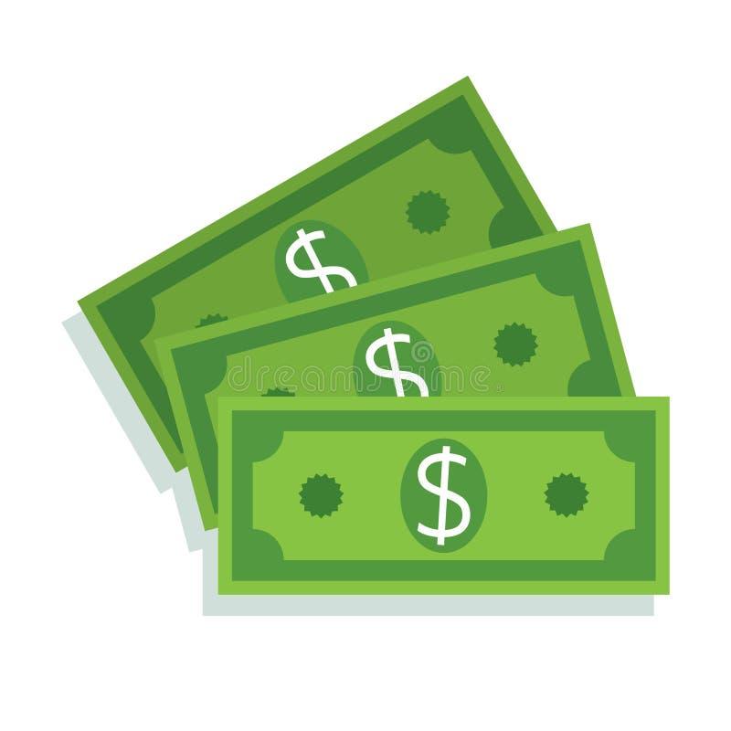ícone da nota de dólar Dinheiro do dinheiro ilustração stock
