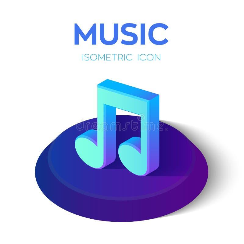 Ícone da nota da música sinal isométrico da nota da música 3D Criado para o móbil, Web, decoração, produtos da cópia, aplicação A ilustração do vetor