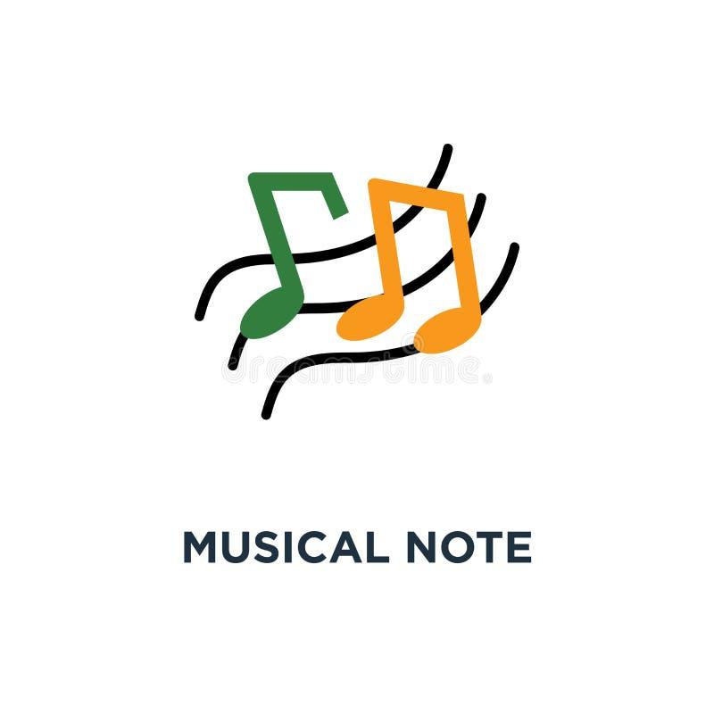 Ícone da nota musical projeto do símbolo do conceito do sumário do sinal da melodia, m ilustração stock