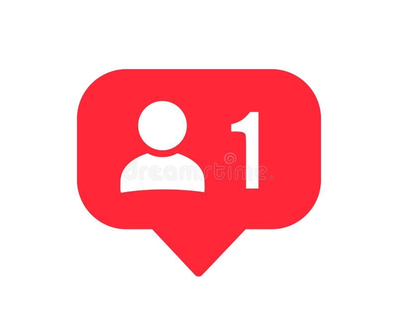 Ícone da notificação do seguidor Seguidor social da rede 1 Ícone social do usuário dos meios Vetor do †do sinal do botão do usu ilustração stock