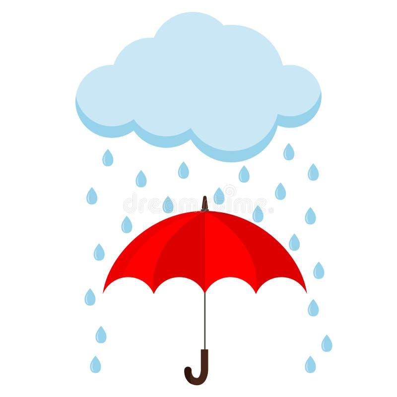 Ícone da nuvem, da chuva e do bastão vermelho aberto do guarda-chuva na chuva ilustração stock