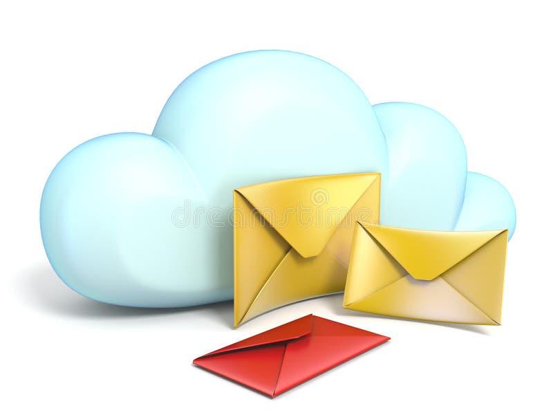 Ícone da nuvem com envelopes 3D dos correios ilustração do vetor