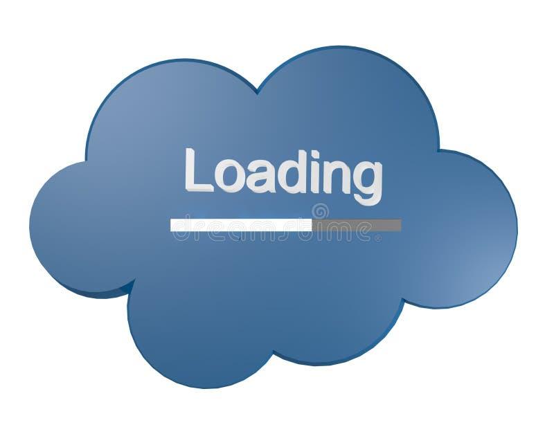 Ícone da nuvem com texto do carregamento ilustração stock