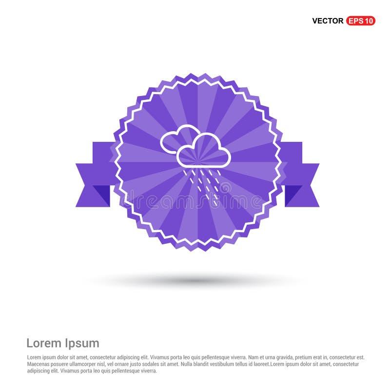 Ícone da nuvem de chuva - bandeira roxa da fita ilustração stock