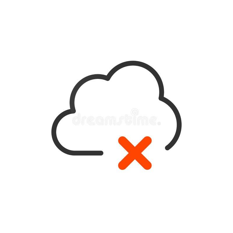 ícone da nuvem do ícone com sinal da cruz ou da supressão Ilustração do vetor ilustração stock