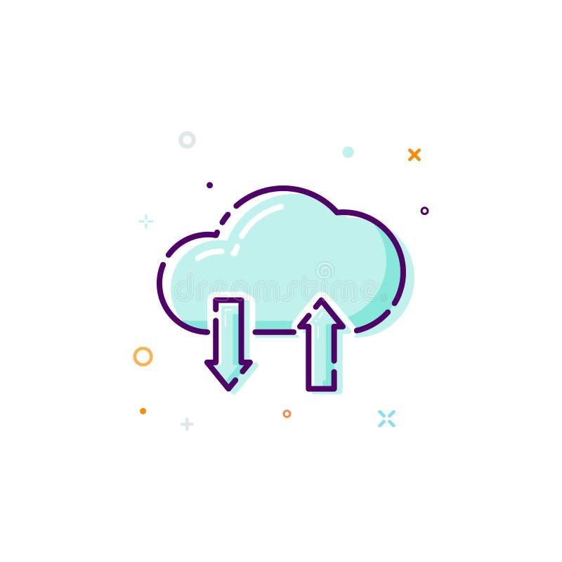 Ícone da nuvem do conceito Linha fina elemento liso do projeto Conceito da loja dos dados Ilustração do vetor isolada no fundo br ilustração do vetor