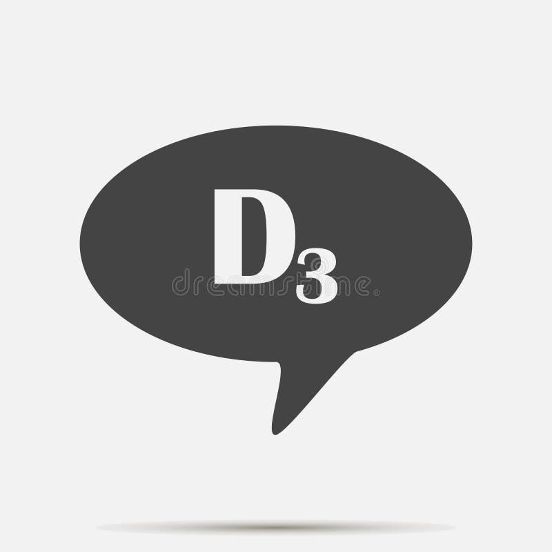 Ícone da nuvem do discurso do vetor e vitamina D3 da inscrição Camadas agrupadas para a ilustração fácil da edição ilustração do vetor
