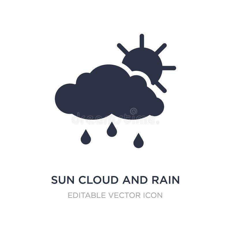 ícone da nuvem e da chuva do sol no fundo branco Ilustração simples do elemento do conceito do tempo ilustração stock