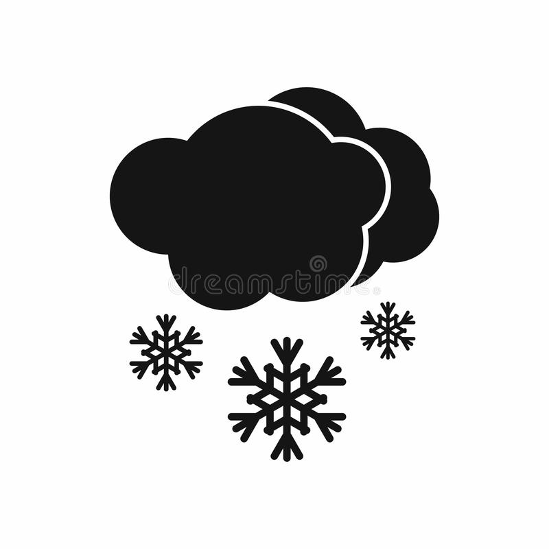 Ícone da nuvem e da neve, estilo simples preto ilustração royalty free