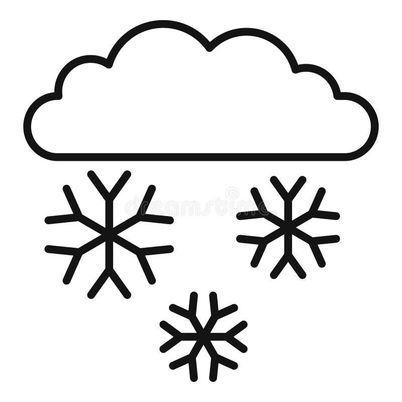 Ícone da nuvem da neve, estilo do esboço ilustração royalty free