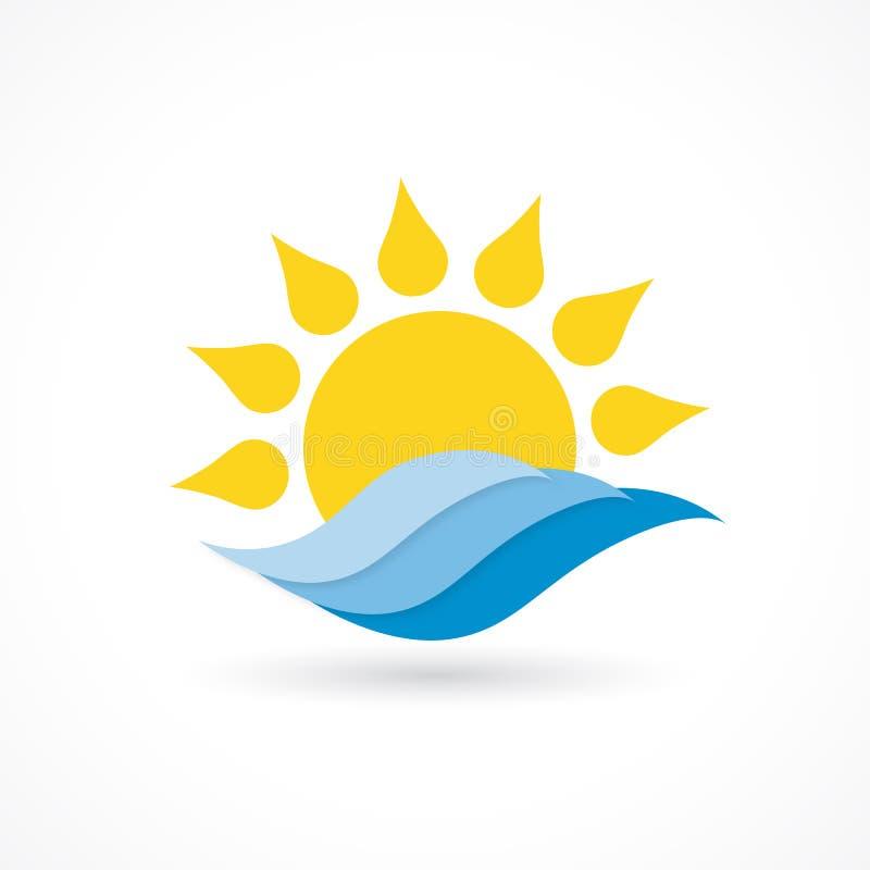 Ícone da onda de Sun ilustração do vetor