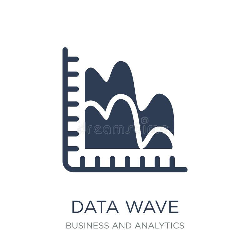 Ícone da onda dos dados Ícone liso na moda da onda dos dados do vetor no backg branco ilustração royalty free