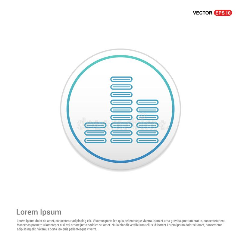 Ícone da onda sadia da música - botão branco do círculo ilustração stock