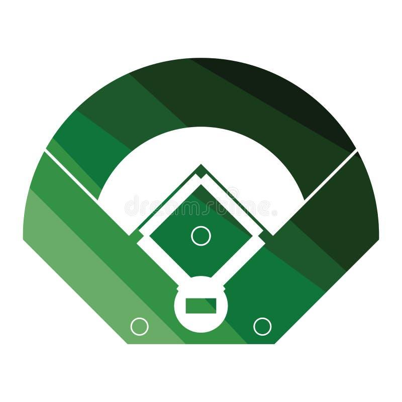 Ícone da opinião aérea de campo de basebol ilustração stock