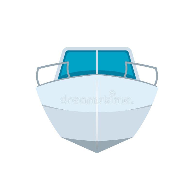 Ícone da opinião dianteira de barco de motor ilustração royalty free