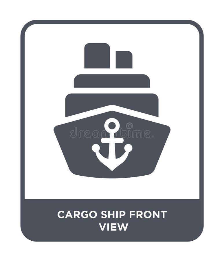 ícone da opinião dianteira de navio de carga no estilo na moda do projeto ícone da opinião dianteira de navio de carga isolado no ilustração do vetor