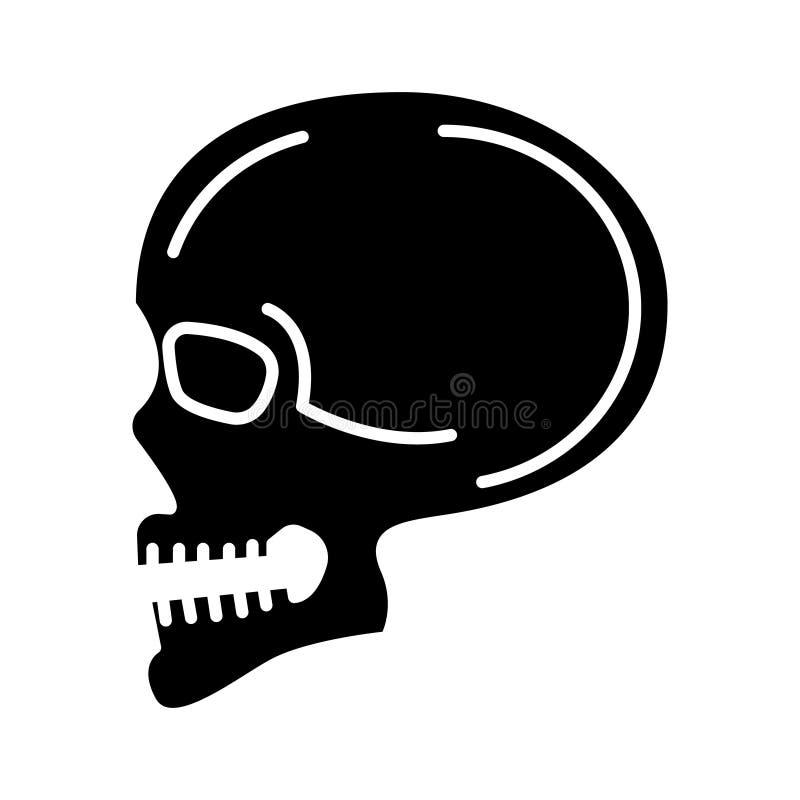 Ícone da opinião dianteira do crânio, ilustração do vetor, sinal preto no fundo isolado ilustração stock
