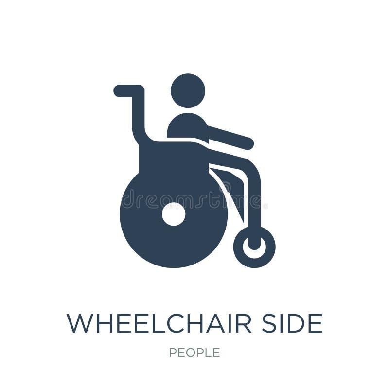 ícone da opinião lateral da cadeira de rodas no estilo na moda do projeto ícone da opinião lateral da cadeira de rodas isolado no ilustração stock