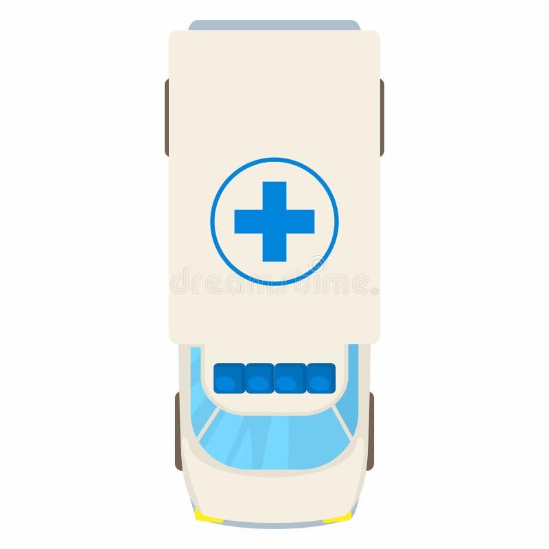 Ícone da opinião superior do carro da ambulância, estilo dos desenhos animados ilustração stock
