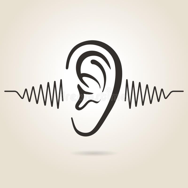 Ícone da orelha ilustração stock