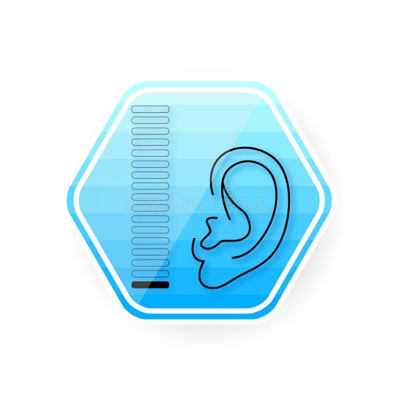 Ícone da orelha Problema surdo da prótese auditiva da orelha Ilustração do vetor ilustração stock