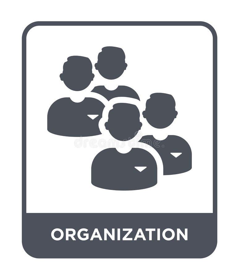 ícone da organização no estilo na moda do projeto Ícone da organização isolado no fundo branco ícone do vetor da organização simp ilustração royalty free