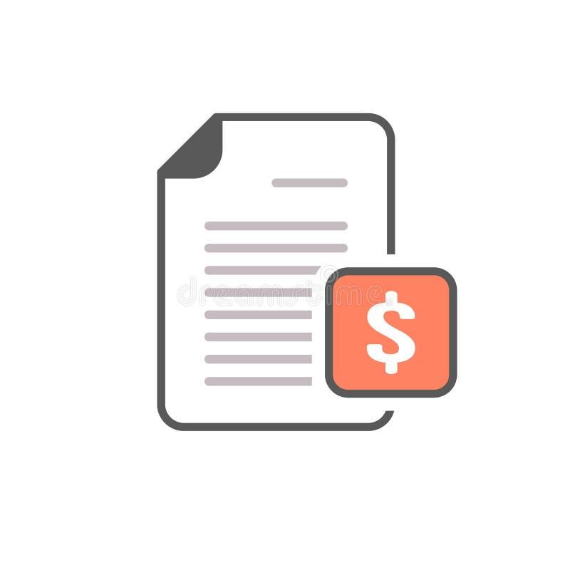 Ícone da página do dinheiro da finança do arquivo do dólar do original da operação bancária ilustração stock